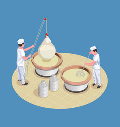 Cheese making isometric poster vector