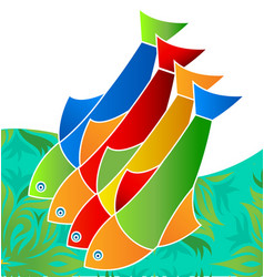 colorful freshwater fish life in the sea icon vector image