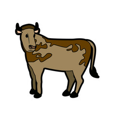 cow animal farm agriculture side view vector image