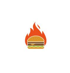Creative hamburger fire logo design symbol vector