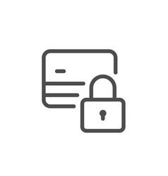 credit card locking line icon vector image