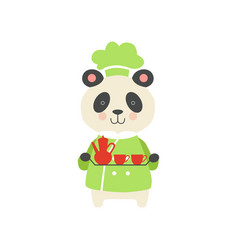 Cute panda bear in chef uniform cartoon animal vector