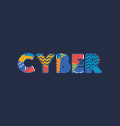 Cyber concept word art vector