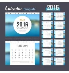 Desk Calendar 2016 Design Template with Nature vector image
