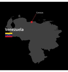 Detailed map of Venezuela and capital city Caracas vector image