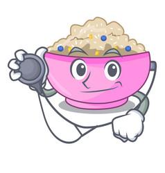 Doctor character a bowl of oatmeal porridge vector