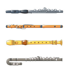 flute icon set cartoon style vector image