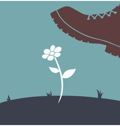 foot over flower vector image