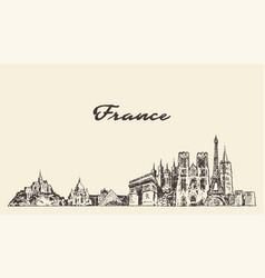 france skyline drawn a sketch vector image