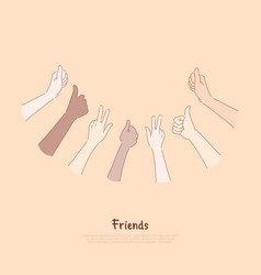 Friends group showing thumbs up and peace signs vector