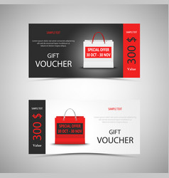 gift voucher with shopping bag template vector image