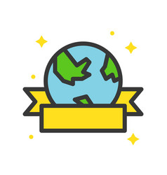 Globe or planet earth icon with ribbon filled vector