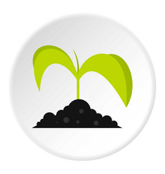 Green seedling in soil icon circle vector