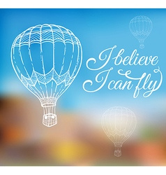 Hand drawn air balloon vector image