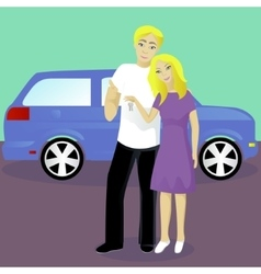 Happy couple with car keys vector image