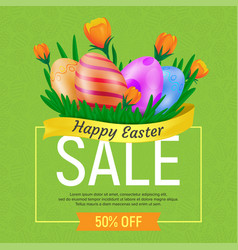 happy easter sale web banner or poster template vector image