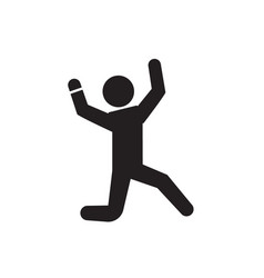 happy man jumping black concept icon happy vector image