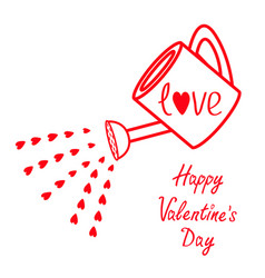 happy valentines day sign symbol watering can vector image