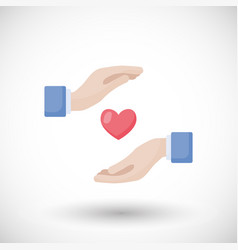 Heart in hands flat icon vector