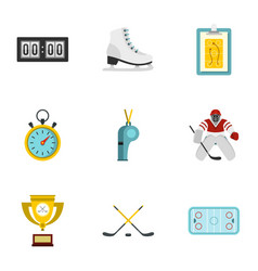 hockey elements and figure skating icons set vector image