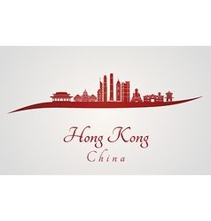 Hong Kong V2 skyline in red vector