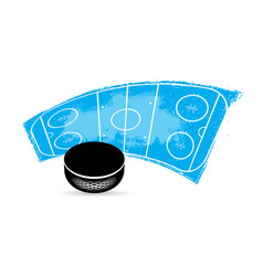 ice hockey tournament puck and rink grungy icon vector image