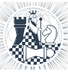 Icon of the global chess game chess vector