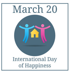 international day happiness couple icon march 20 vector image