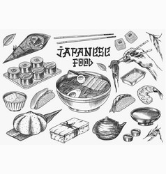 Japanese food set sushi bar ramen noodles soup vector