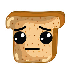 Kawaii cute sad chopped bread vector