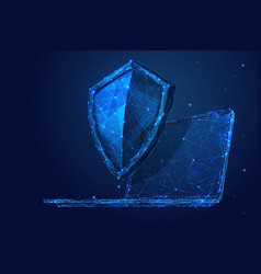 laptop and shield low-poly blue vector image