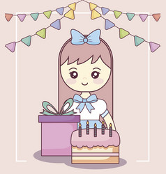 Little girl with gift box and sweet cake vector