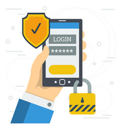 Login and password when you log in to smartphone vector