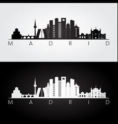 Madrid skyline and landmarks silhouette vector