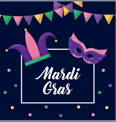 mardi gras card with joker hat and mask vector image