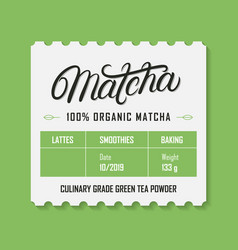 matcha tea vintage retro label vector image