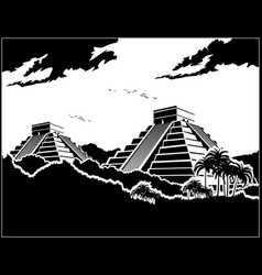 Mayan pyramids in the jungle vector