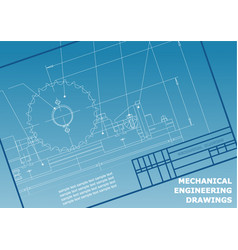 Mechanical drawings on a blue background vector