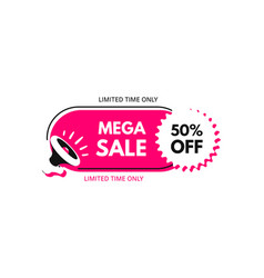 mega sale 50 off megaphone with bubble speech vector image