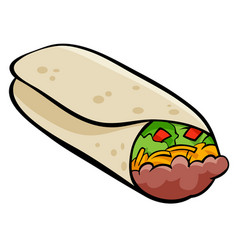 Mexican burrito tortilla cartoon vector