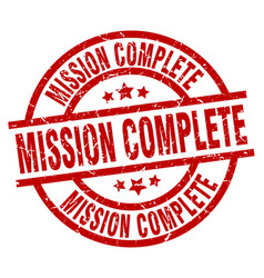 Mission complete round red grunge stamp vector