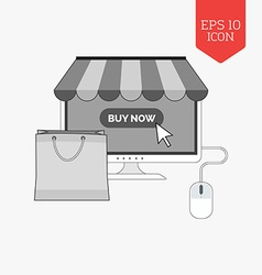 Monitor with awning and shopping bag icon online vector image