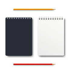 notebook isolated with two pencil white vector image