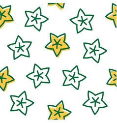 outline star fruit tropical fruit seamless pattern vector image