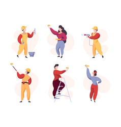 painters crowd professional workers wall painting vector image