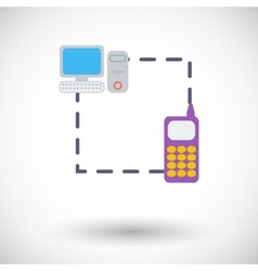 Phone sync single flat icon vector image