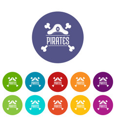 pirate bone icons set color vector image