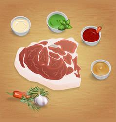 Pork with tasty sauces vector