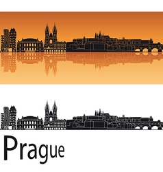 Prague skyline in orange background vector