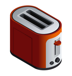 Red toaster icon isometric style vector